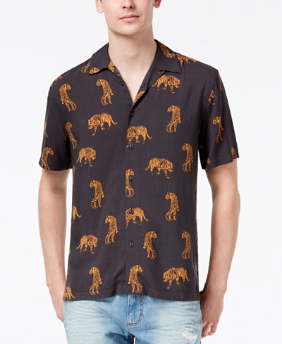 American Rag Men's Roaming Tigers Shirt, Created for Macy's
