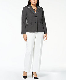 Le Suit Plus Size Dot-Print Pantsuit