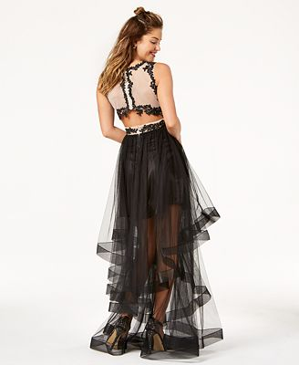 Say Yes To The Prom Juniors Embellished Sheer Tiered Skirt Gown