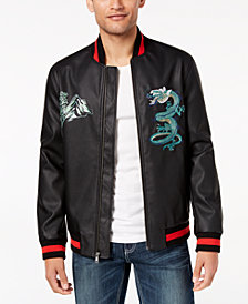 I.N.C. Men's Embroidered Dragon Varsity Bomber Jacket, Created for Macy's
