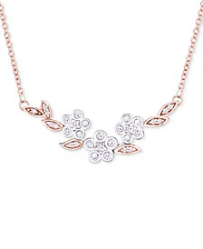 "Diamond Flower 17"" Collar Necklace (1/4 ct. t.w.) in 14k Rose & White Gold, Created for Macy's"