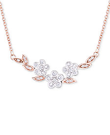 "Wrapped in Love™ Diamond Flower 17"" Collar Necklace (1/4 ct. t.w.) in 14k Rose & White Gold, Created for Macy's"