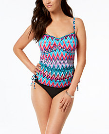 Swim Solutions Island Sunset Underwire Ruched Tankini Top & Bottoms, Created for Macy's