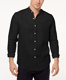 Tasso Elba Island Men's Band-Collar Linen Shirt, Created for Macy's