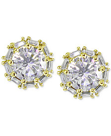 Giani Bernini Cubic Zirconia Baguette Halo Stud Earrings in 18k Rose Gold-Plated Sterling Silver, Created for Macy's