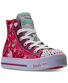 Skechers Little Girls' Twinkle Toes: Shuffles - Velvet Crush Light-Up High Top Casual Sneakers from Finish Line