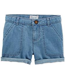 Carter's Cotton Denim Rolled Cuff Shorts, Toddler Girls
