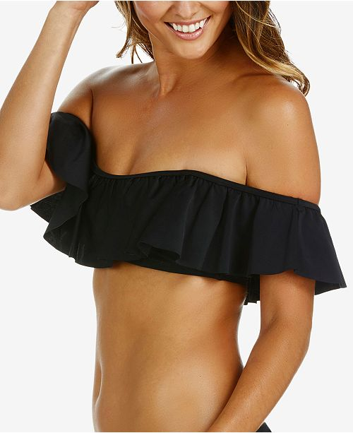 Raisins Juniors' Ruffled Off-The-Shoulder Bikini Top