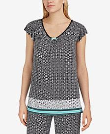 Ellen Tracy Printed Flutter-Sleeve Pajama Top