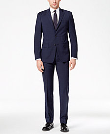 Calvin Klein Men's Slim-Fit Stretch Navy/Charcoal Mini-Windowpane Suit
