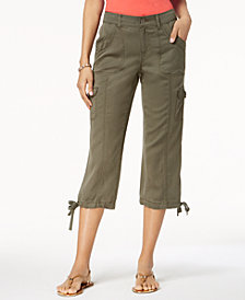 Style & Co Petite Tie-Hem Cargo Capri Pants, Created for Macy's
