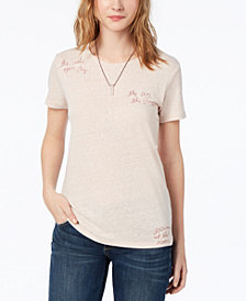 Lucky Brand Embroidered T-Shirt, Created for Macy's