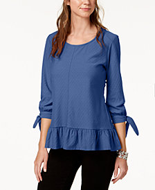 Style & Co Petite Jacquard Top, Created for Macy's