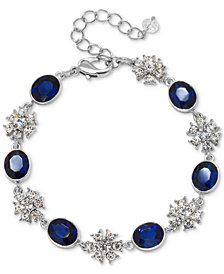 Jewel Badgley Mischka Silver-Tone Crystal & Colored Stone Link Bracelet
