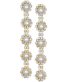 Jewel Badgley Mischka Gold-Tone Crystal & Imitation Pearl Linear Drop Earrings