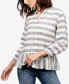 Lucky Brand Striped Peplum Blouse