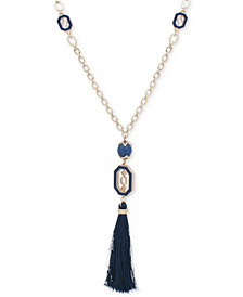 "Ivanka Trump Gold-Tone Blue Link, Bead & Tassel 32"" Pendant Necklace"