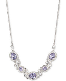 """Givenchy Silver-Tone Multi-Crystal Collar Necklace, 16"""" + 3"""" extender"""