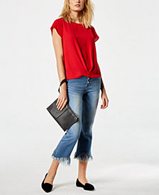 I.N.C. Draped-Hem Top & Fringe-Trim Jeans, Created for Macy's