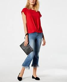 I.N.C. Draped-Hem Top & Fringe-Trim Jeans, Created for Macy's