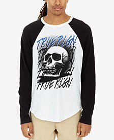 True Religion Men's Airbrushed Skull Logo-Print Raglan-Sleeve T-Shirt