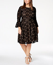 City Studios Trendy Plus Size Bell-Sleeve Lace Dress