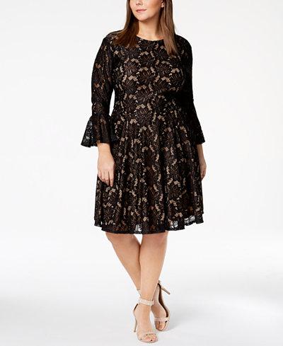 City Studios Trendy Plus Size Bell-Sleeve Lace Dress