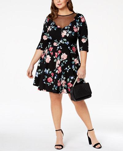 City Studios Trendy Plus Size Illusion Fit & Flare Dress