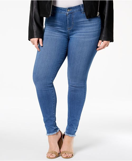 aac429df37d Celebrity Pink Trendy Plus Size Raw-Hem Skinny Jeans   Reviews ...