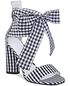 GUESS Women's Allison Gingham Dress Sandals