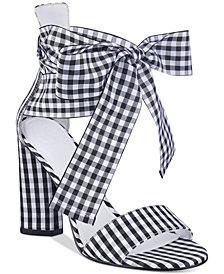 GUESS Women's Allison Gingham Dress Sandals
