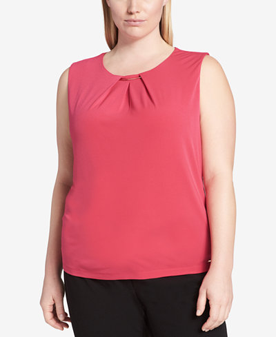 Calvin Klein Plus Size Pleat-Neck Hardware Shell