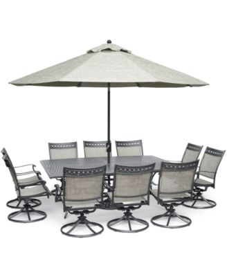 "Vintage II Outdoor Aluminum 11-Pc. Dining Set (84"" x 60"" Dining Table & 10 Swivel Rockers), Created for Macy's"