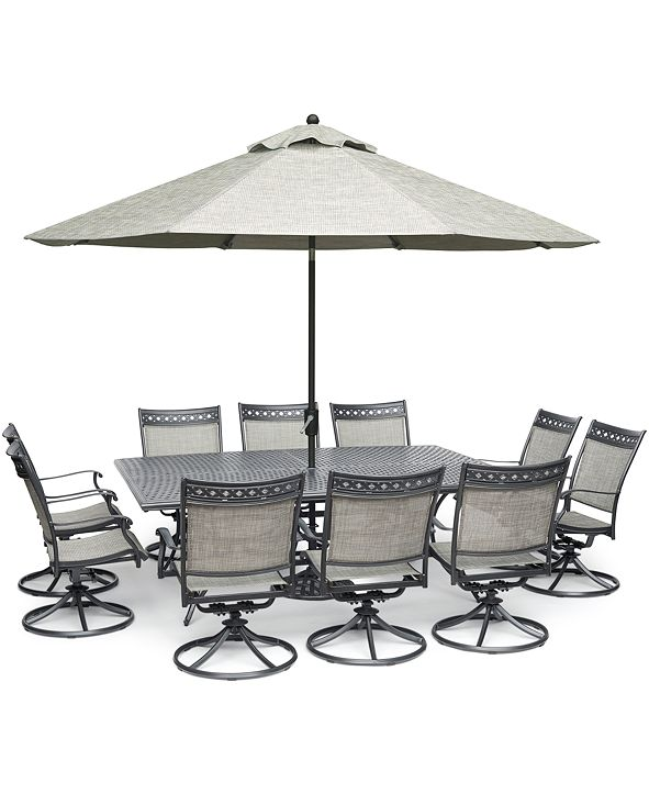 "Furniture Vintage II Outdoor Aluminum 11-Pc. Dining Set (84"" x 60"" Dining Table & 10 Swivel Rockers), Created for Macy's"
