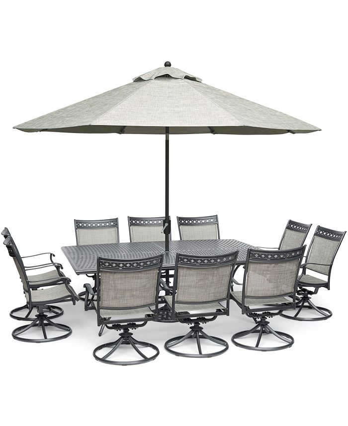 """Furniture - Vintage II Outdoor Aluminum 11-Pc. Dining Set (84"""" x 60"""" Dining Table & 10 Swivel Rockers)"""