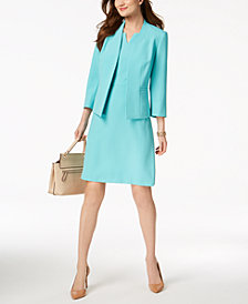 Kasper 3/4-Sleeve Blazer & V-Neck Sheath Dress