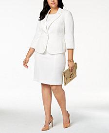 Kasper Plus Size Textured 3/4-Sleeve Blazer & Sheath Dress