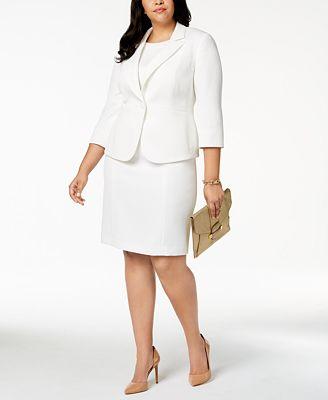 Kasper Plus Size Textured 3 4 Sleeve Blazer Sheath Dress Women S