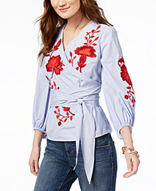 I.N.C. Petite Embroidered Wrap Shirt, Created for Macy's