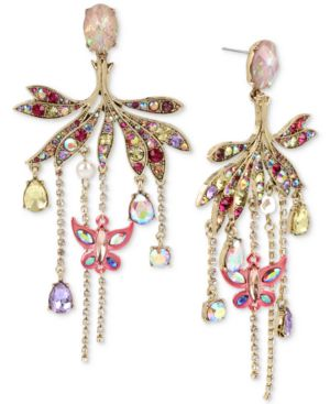GOLD-TONE CRYSTAL & PAVE BUTTERFLY CHANDELIER EARRINGS