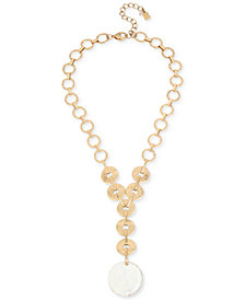 "Robert Lee Morris Soho Gold-Tone Mother-of-Pearl-Look Disc Y Necklace, 18"" + 3"" extender"