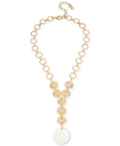 Robert Lee Morris Soho Gold-Tone Mother-of-Pearl-Look Disc Y Necklace, 18