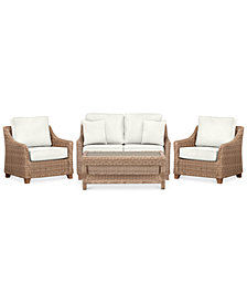 Willough Outdoor 4-Pc. Set (1 Loveseat, 2 Club Chairs & 1 Coffee Table), Created for Macy's