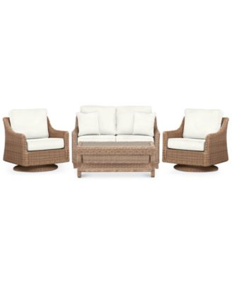 Willough Outdoor 4-Pc. Set (1 Loveseat, 2 Swivel Gliders & 1 Coffee Table), Created for Macy's