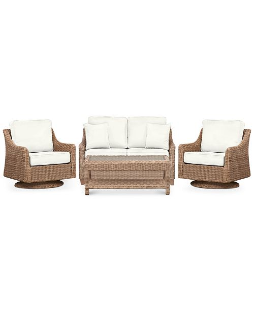 Furniture Willough Outdoor 4-Pc. Set (1 Loveseat, 2 Swivel Gliders & 1 Coffee Table), Created for Macy's