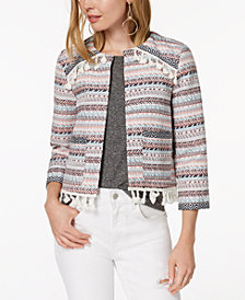Jack by BB Dakota Printed Fringe-Detail Blazer