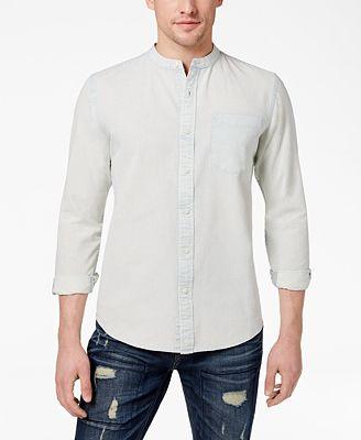American Rag Men S Band Collar Denim Shirt Created For Macy S