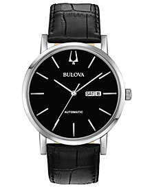 Bulova Men's Automatic American Clipper Black Leather Strap Watch 42mm