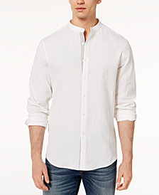 I.N.C. Men's Seersucker Band-Collar Shirt, Created for Macy's