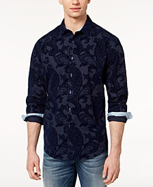 I.N.C. Men's Flocked Paisley Shirt, Created for Macy's